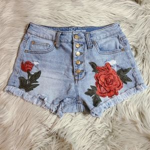 NOBO Cutoff Denim Shorts Rose Patch Button Up